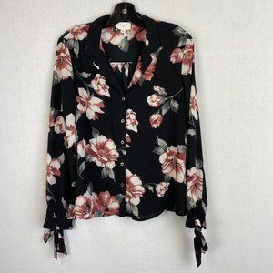 EVERLY Floral Print Button Up Blouse